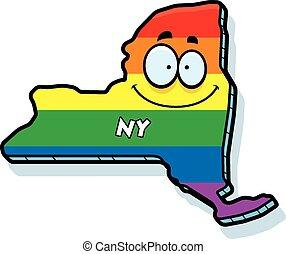 Cartoon New York Gay Marriage - A cartoon illustration of...