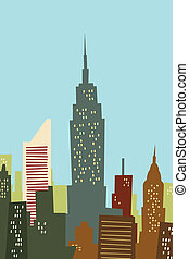 Cartoon New York Skyline