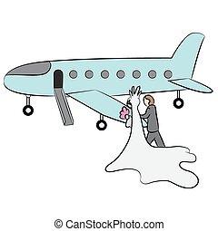 Cartoon Newlyweds Going On Honeymoon