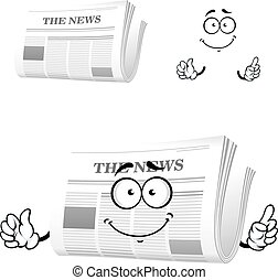 Cartoon newspaper with attention gesture