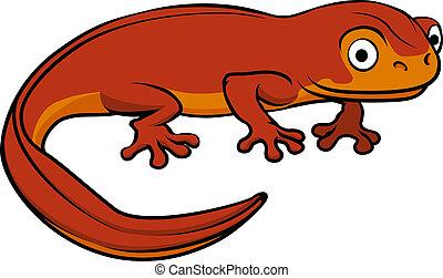 An illustration of a happy cute cartoon newt