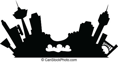 Cartoon Niagara Falls - Cartoon skyline silhouette of the...