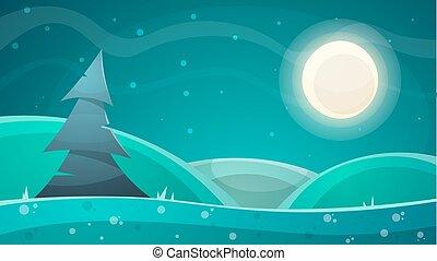 Cartoon night landscape. Fir, moon illustration