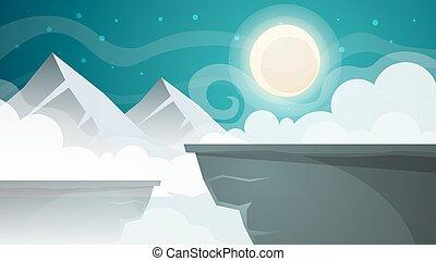 Cartoon night landscape. Mountain, moon illustration.