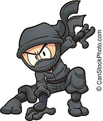 Cartoon ninja doing a three point landing. Vector clip art ...