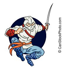 Cartoon Ninja Fighting with Sword