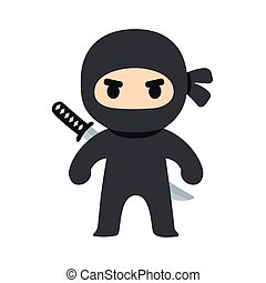 Cartoon ninja illustration - Cartoon ninja drawing in chibi...