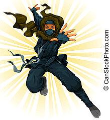 cartoon ninja jumping in the air