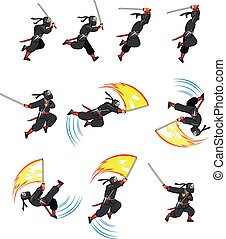 Cartoon Ninja  - Ninja Flying Attack Game Sprite