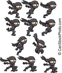 Cartoon ninja ready for animation. Vector clip art...