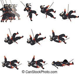 Cartoon Ninja Sprite - Ninja Dying Game Sprite