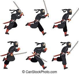 Cartoon Ninja Sprite - Ninja Running Game Sprite