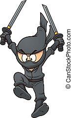 Cartoon ninja jumping. Vector clip art illustration with...