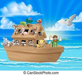 Cartoon Noahs Ark - Cartoon childrens illustration of the...