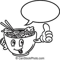 cartoon noodle with bubble speech