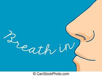 Cartoon nose breathing in word