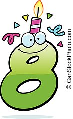 A cartoon illustration of a number eight with a birthday candle and confetti.