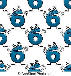 Cartoon number six seamless pattern