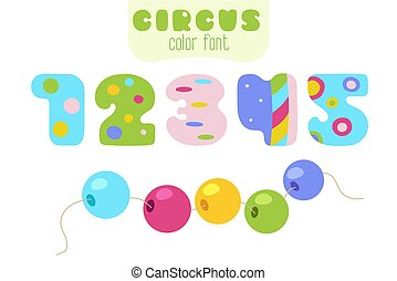 Cartoon numbers 1, 2, 3, 4, 5 and sling beads