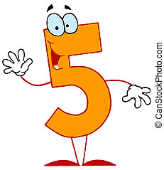Cartoon Numbers-5 - Friendly Orange Number 5 Five Guy