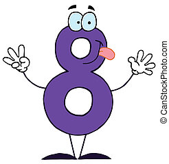 Cartoon Numbers-8  - Friendly Purple Number 8 Eight Guy