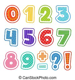 Cartoon numbers. Colored fun alphabet for school kids vector text clipart illustrations isolated