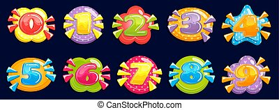 Cartoon numbers. Funny chubby number, child birthday card colored years and number in colorful frame. Game bubble toy or happy birthday cake numbers vector illustration set