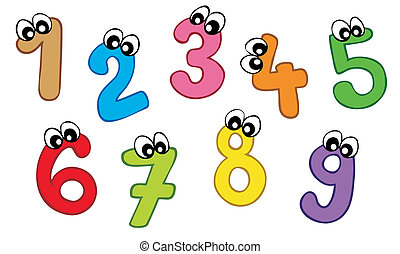 Cartoon numbers on white background - vector illustration.