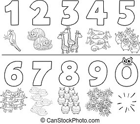 cartoon numbers set with animals color book