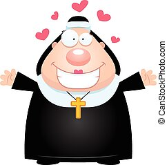 Cartoon Nun Hug - A cartoon illustration of a nun ready to...