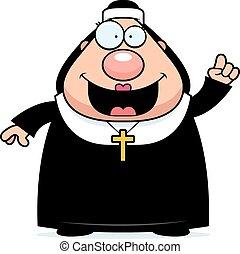 Cartoon Nun Idea - A cartoon illustration of a nun with an...