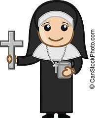 Cartoon Nun Showing Holy Cross Sign