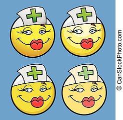 Cartoon Nurse Smiley Set