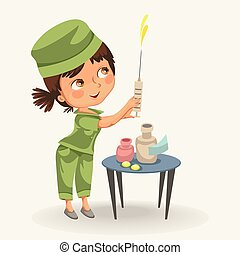 Cartoon nurse with syringe poster