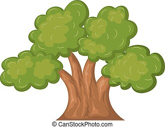 Cartoon oak on a white background. Vector illustration