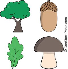 Cartoon Oak Tree, Oak Leaf, Acorn