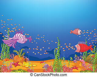 Cartoon Ocean - Ocean Underwater World Cartoon. Coral Reef...