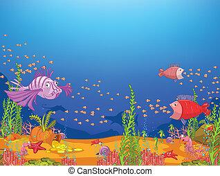 Cartoon Ocean - Ocean Underwater World Cartoon. Coral Reef...