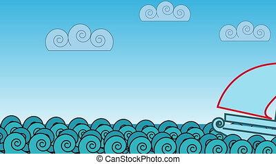 cartoon ocean waves - animation - cartoon ocean waves