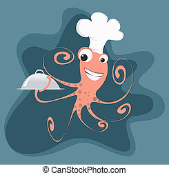Cartoon Octopus Chef