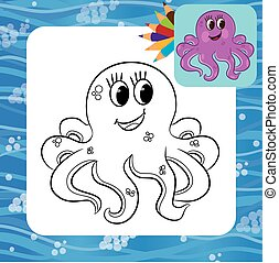 Cartoon octopus. Coloring page