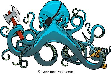 Cartoon octopus pirate with axe and sword - Fearful blue...