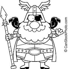 Cartoon Odin Waving