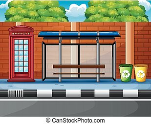 cartoon of a bus stop, telephone box and trash can in the edge highway