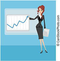 Cartoon of a business woman pointing to rising business...