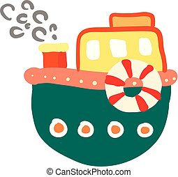 cartoon of a colorful boat vector or color illustration