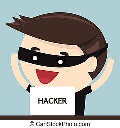 Cartoon of a computer hacker