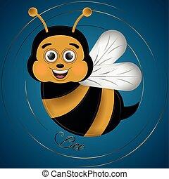 Cartoon of a cute happy bee
