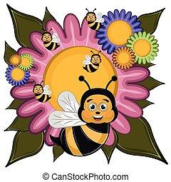 Cartoon of a cute happy bees