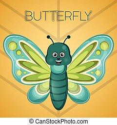 Cartoon of a cute happy butterfly
